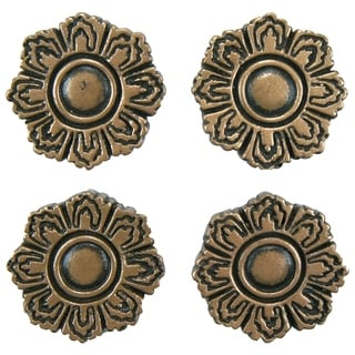 SomerTile 1.2x1.2-inch Courant Flora Bronze Mosaic Medallion Pin Insert Wall Tile (Pack of 4)