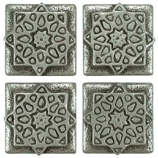 SomerTile 1.2x1.2-inch Courant Starburst Pewter Mosaic Medallion Pin Insert Wall Tile (Pack of 4)