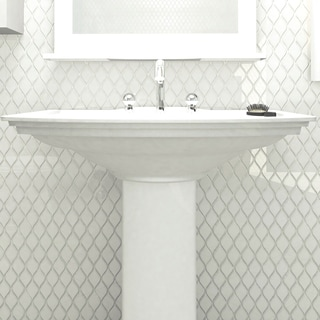 SomerTile 10.625x11.125-inch Tempo Glossy White Ceramic Floor and Wall Tile (Case of 10)