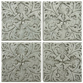 SomerTile 2x2-inch Courant Bouquet Pewter Tozetta Medallion Metal Floor and Wall Insert Tile (Pack of 4)