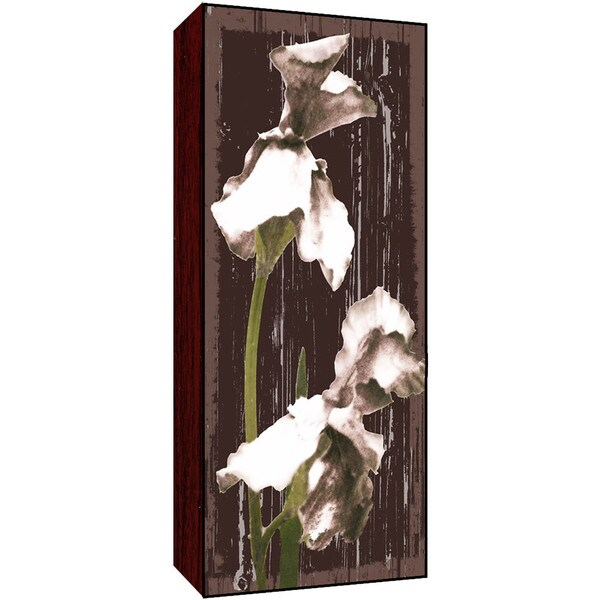 Whites Flowers on Brown I Wood Art