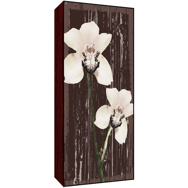 Whites Flowers on Brown II Wood Art