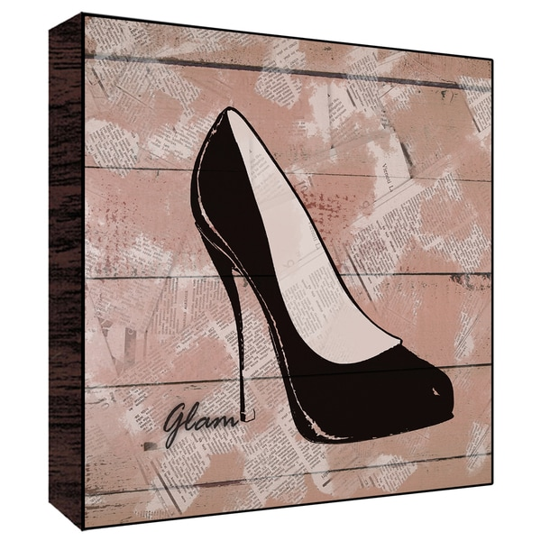 12x12 Glam Shoes Wood Art