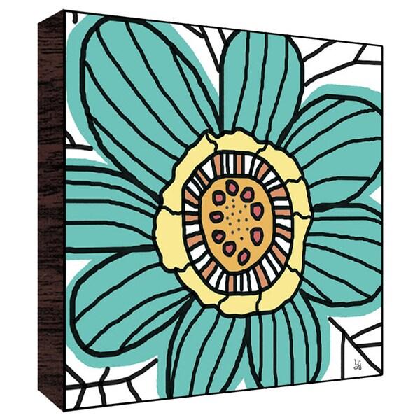 12x12 Big Blue Flower Wood Art