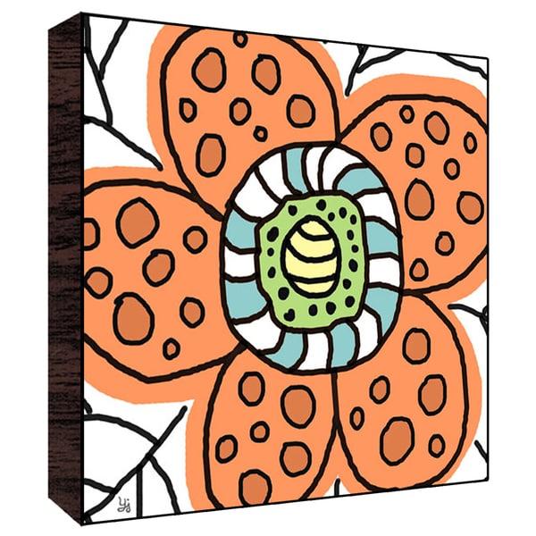 12x12 Big Orange Flower Wood Art