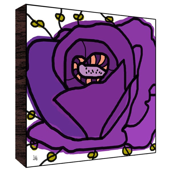 12x12 Big Purple Flower Wood Art