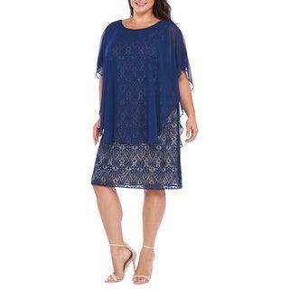 R&M Richards Women's Plus Caplet Lace Dress