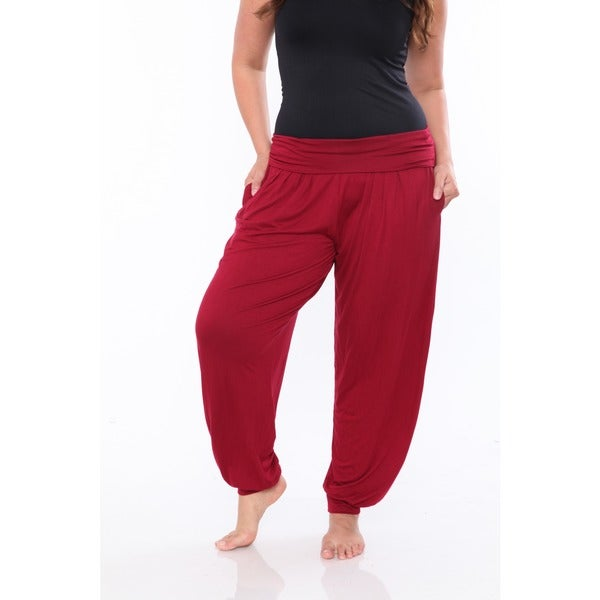 White Mark Women's Plus Size Harem Pants 1X in Purple (As Is Item)