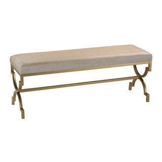 Sterling Double Bench in Cream Metallic Linen