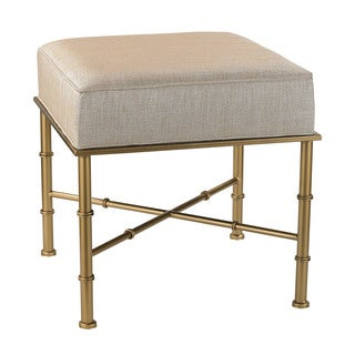 Sterling Gold Cane Bench in Cream Metallic