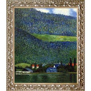 Gustav Klimt 'Unterach on Lake Atter, 1915' Hand Painted Framed Canvas Art