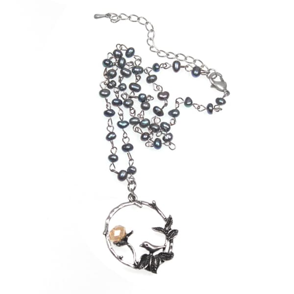 Darling Bird and Flower Circle Pendant with Grey Freshwater Pearl Chain Necklace (4-5mm)
