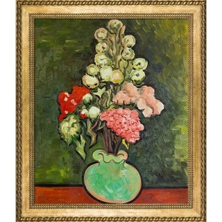 Vincent Van Gogh 'Still Life Vase with Rose-Mallows' Hand Painted Framed Canvas Art