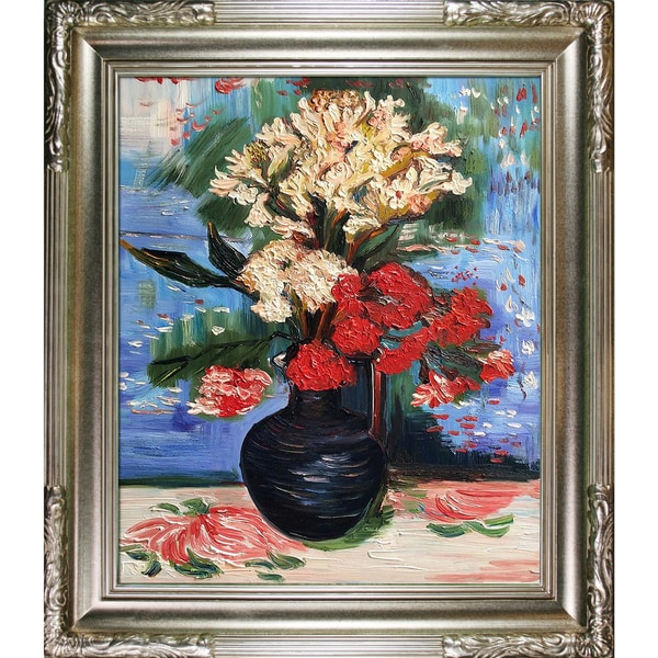 Vincent Van Gogh 'Vase with Carnations and Other Flowers' Hand Painted Framed Canvas Art