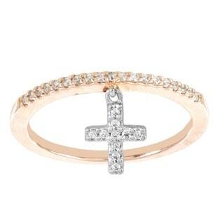 H Star 10k Rose and White Gold 1/6ct Diamond Cross Charm Ring (I-J, I2-I3)