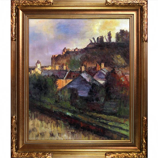 Edgar Degas 'Houses at the Foot of a Cliff' (Saint-Valery-sur-Somme) Hand Painted Framed Canvas Art