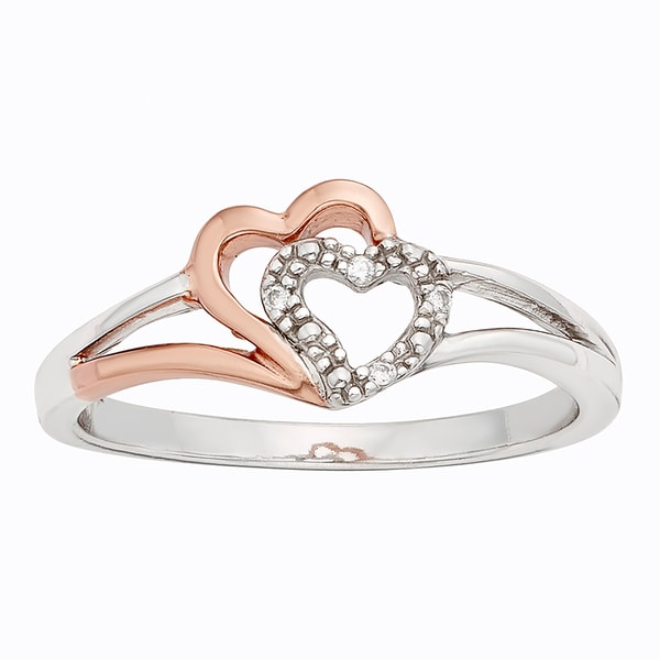 H Star Sterling Silver and 10k Rose Gold Two-tone Diamond Accent Double Heart Ring