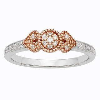 H Star Sterling Silver and 10k Rose Gold Two-tone 1/10ct TDW Diamond Ring (I-J, I2-I3)