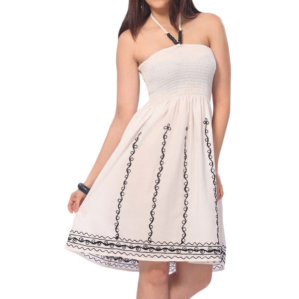 La Leela One SIze Viscose Embroiderd Designer Short Tube Dress Black/ Off-white