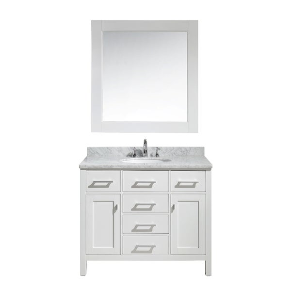 42 inch single sink vanity set in white finish