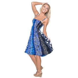 La Leela Women's Animal Skin Print Short Tube Smocked Backless Dress/ Skirt/ Summer Dress