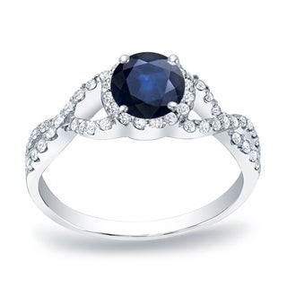 Auriya 14k Gold 1/2ct Blue Sapphire and 1/3ct TDW Round Diamond Engagement Ring (H-I, SI1-SI2)