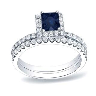 Auriya 14k Gold 1/2ct Blue Sapphire and 3/4ct TDW Diamond Bridal Ring Set(H-I, SI1-SI2)