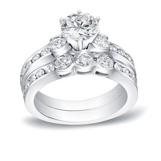 Auriya 14k White Gold 1 1/2ct TDW Round Cut Diamond Bridal Ring Set (H-I, SI1-SI2)