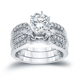 Auriya 14k White Gold 1 1/5ct TDW Round Cut Diamond Bridal Ring Set (H-I, SI2-SI3)
