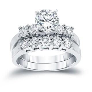 Auriya 14k White Gold 1 1/2ct TDW Round Diamond Bridal Ring Set (H-I, SI2-SI3)