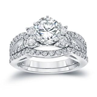 Auriya 14k White Gold 2ct TDW Round Cut Diamond Bridal Ring Set (I-J, SI2-SI3)