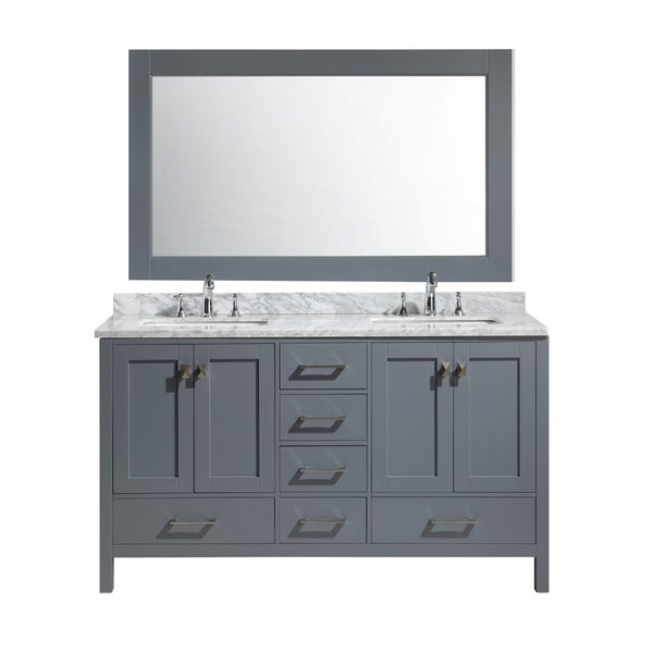 Design Element London 61 Inch Double Sink Vanity Set In Grey Finish 1760508