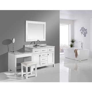 Design Element London 42-inch Single Sink Vanity Set in White Finish with One Make-up table in White