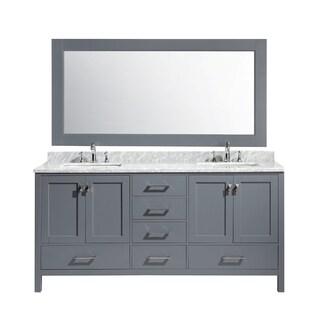 Design Element London 72-inch Double Sink Vanity Set in Grey Finish