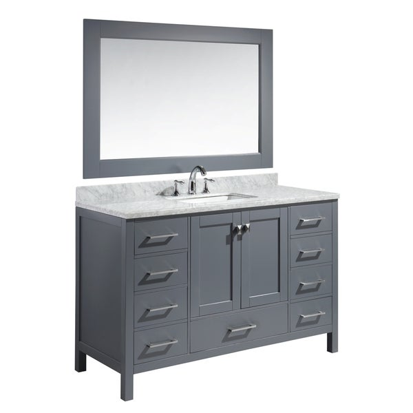 Design Element London 54inch Single Sink Vanity Set in Grey Finish