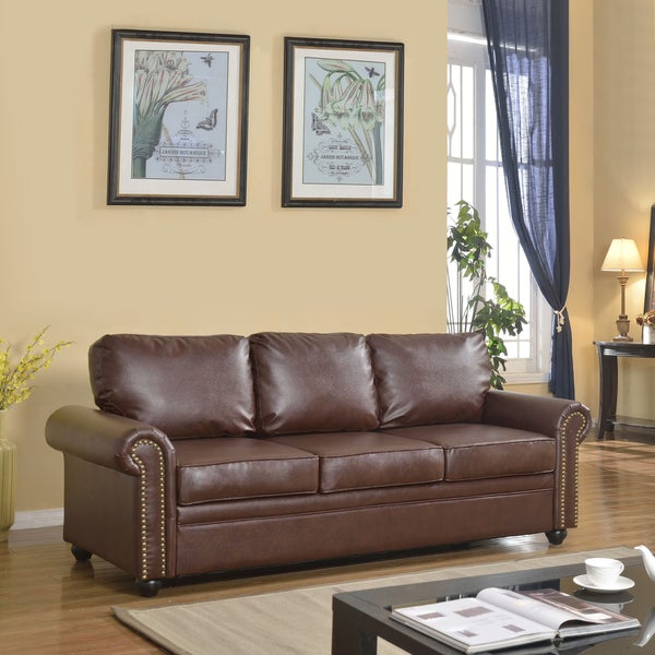 Traditionally Designed Brown Bonded Leather Sofa with Classic Scroll Arm Rests and Nailheads Trim