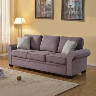 Traditionally Designed Linen 3 Seater Sofa in Colors Grey, Dark Light Grey, Beige, Red - Includes 2 Accent Pillows