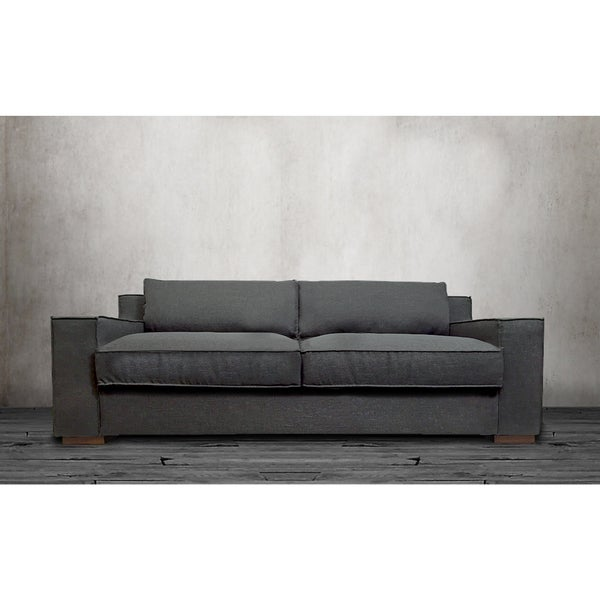 Modern linen fabric sofa with wide track arms and deep for Deep couches for sale