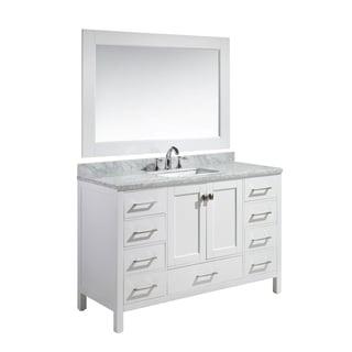 Design Element London 54-inch Single Sink Vanity Set in White Finish