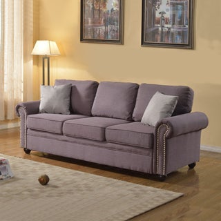 Traditionally Designed Dark Grey Linen Sofa with Classic Scroll Arm Rests and Nailheads Trim - Includes 2 Accent Pillows