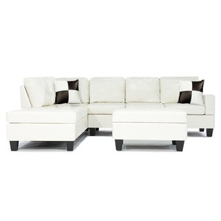 3-piece Modern White Bonded Leather Reversible Sectional Sofa with Large Ottoman