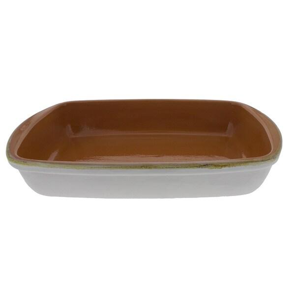 French Home 12-inch White Stoneware Rectangular Baker
