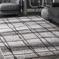 nuLOOM Contemporary Trellis Grey Rug (7'6 x 9'6)
