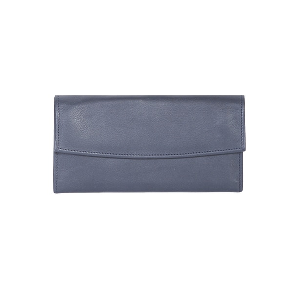Scully Blue Leather Wallet Clutch