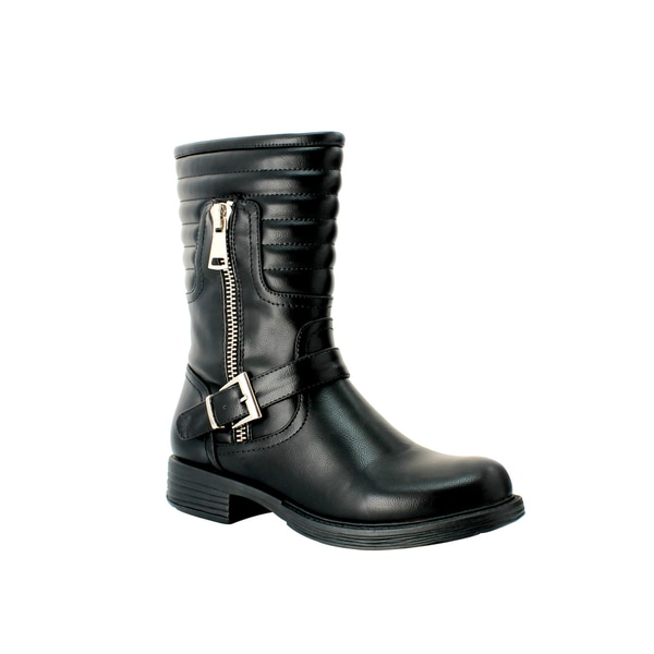Olivia Miller 'Delancey' Zip Buckle Trapunto Motorcycle Boots