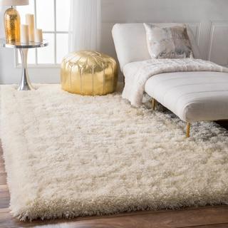 nuLOOM Solid Soft and Plush White/ Grey Shag Rug (5' x 8')