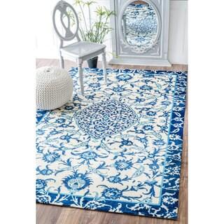 nuLOOM Modern Persian Printed Floral Blue Rug (5' x 8')