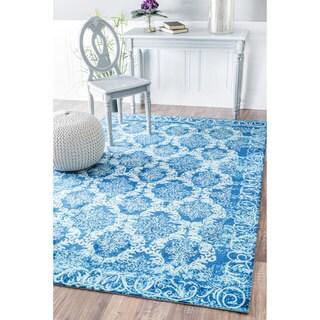 nuLOOM Modern Damask Printed Floral Blue Rug (8' x 10')