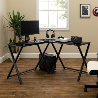 X-frame Glass & Metal L-Shaped Computer Desk -Black/Black