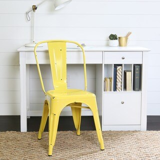 Metal Cafe Chair - Antique Yellow